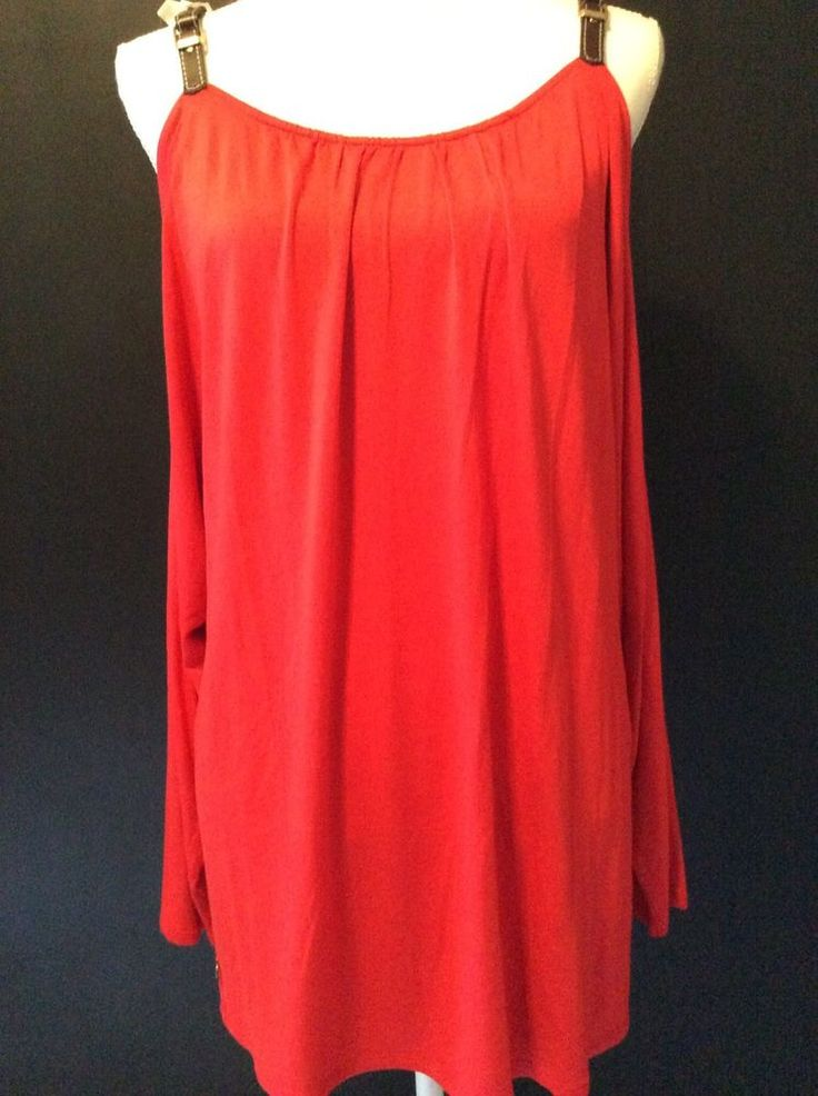 Soft Surroundings Large Cold Shoulder Womens Red Tunic Top Shirt Buckle Strap L #SoftSurroundings #Tunic #Casual