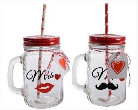 barattolo vetro bicchiere con cannuccia mr. e mrs.