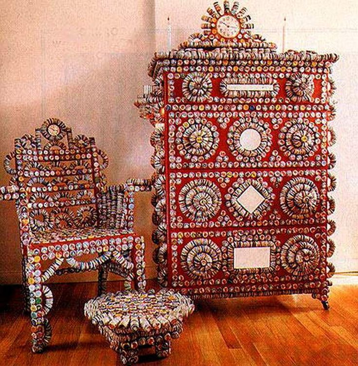 Artistic Recycling: Amazing Uses for Leftover Bottle Caps.  The chair, if used as a chair, seems like it would hurt but as a sculptural piece - wow!