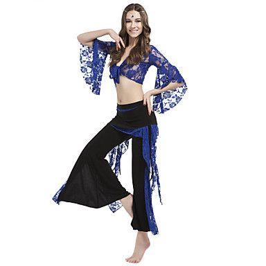 Danskläder kristall bomull med spets magen byxa outfit för damer fler färger – SEK Kr. 214