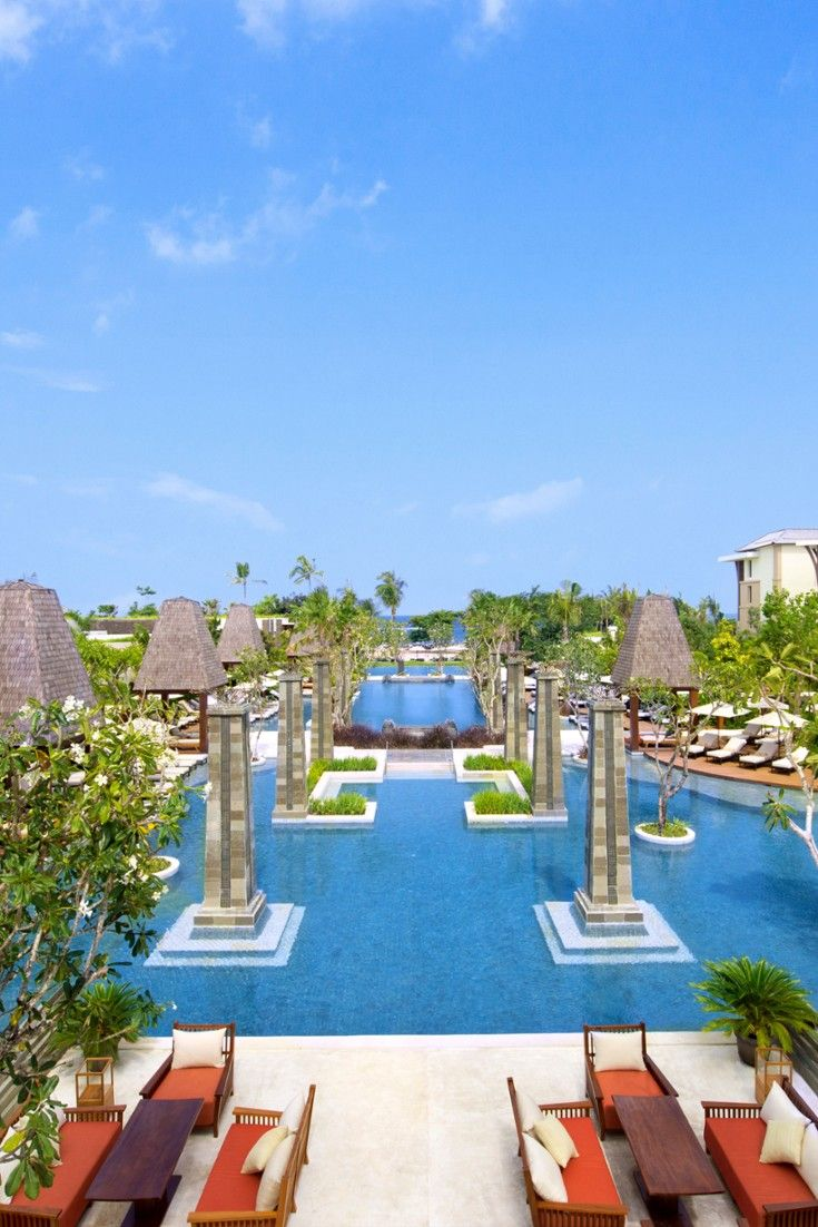 Landscaped grounds surround an enormous pool. #Jetsetter Sofitel Bali in Nusa Dua 13/5