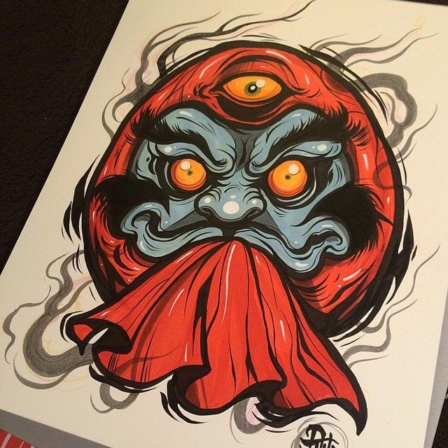 Awesome daruma print done by @davetattoos #japanesetattooart #japanesetattoo…