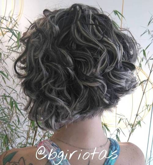 curly+short+black+bob+with+blonde+highlights