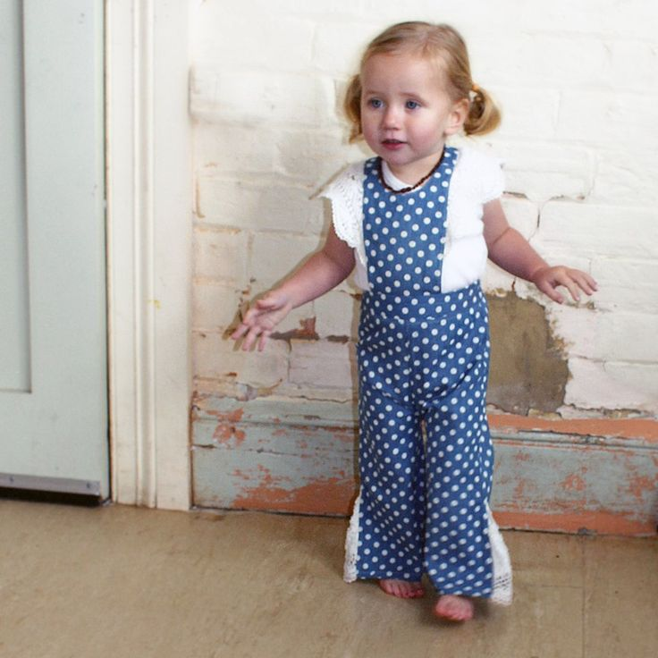 Tootypegs denim and lace kids overalls