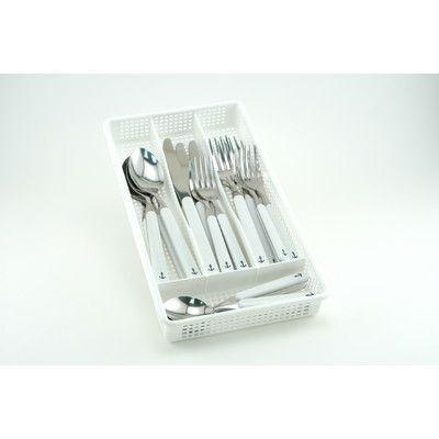 Galleyware  Company 30 Piece Anchor Plus Storage Tray Flatware Set Handle Color: White