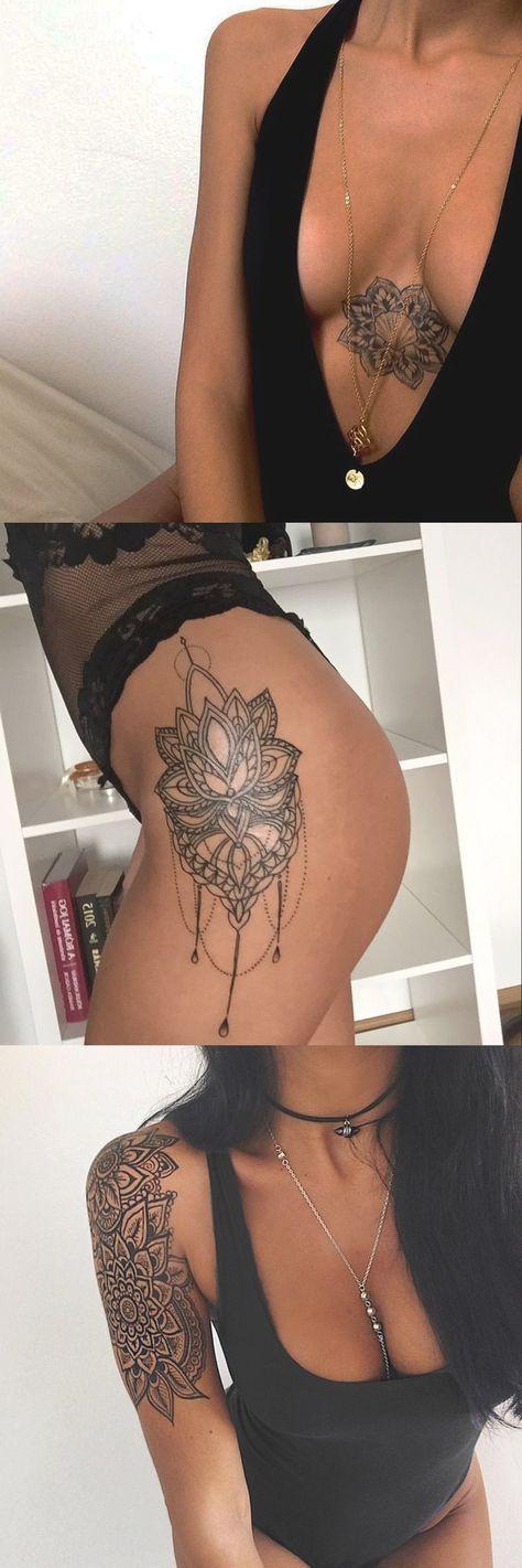 Geometric Simple Lotus Chandelier Mandala Sternum Thigh Arm Sleeve Tattoo Ideas for Women - MyBodiArt.com