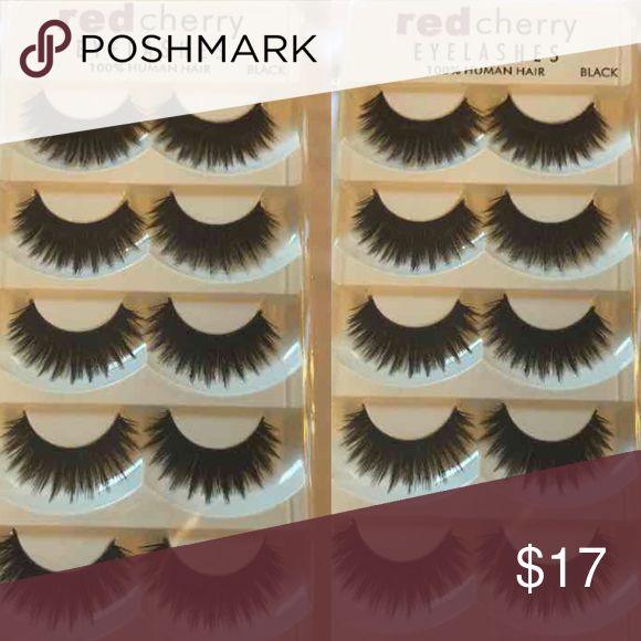 Red cherry eyelashes 10 pairs Red cherry eyelashes x2 Brand new 10 pairs :) 100 % human hair red cherry Makeup False Eyelashes