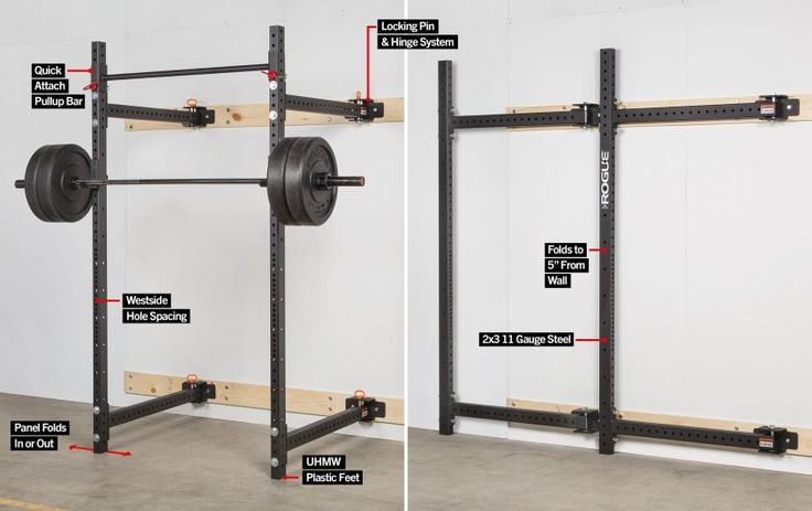 The rogue r w fold back wall mount rack features