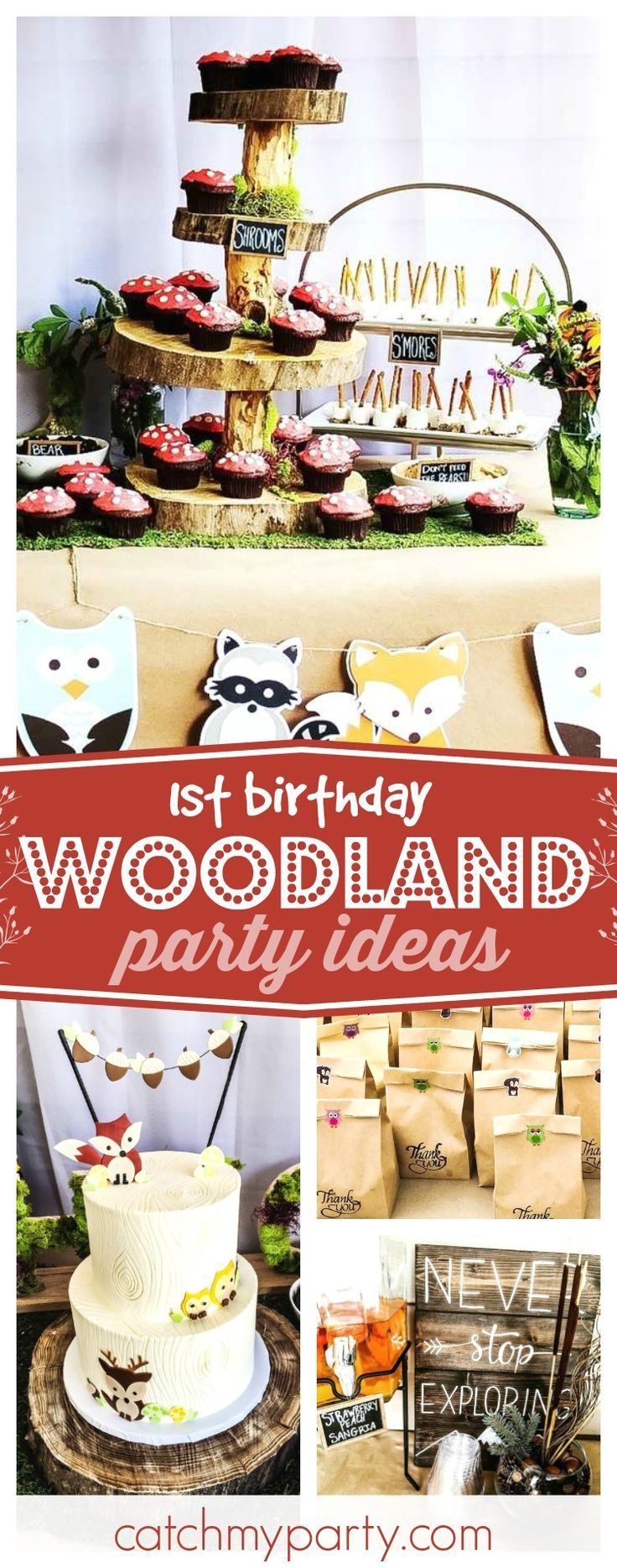 Check out this fun Woodland Wild One 1st birthday party! The cupcakes on  the log