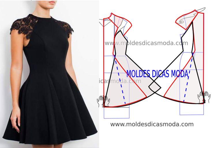 Vestido preto senhora Vestido preto com o passo a passo do molde