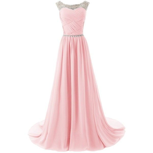 Dressystar Beaded Straps Bridesmaid Prom Dress with Sparkling... ($40) ❤ liked on Polyvore featuring dresses, gowns, long dress, sparkly bridesmaid dresses, pink prom dresses, bridesmaid dresses, beaded bridesmaid dresses and bridesmaid gowns
