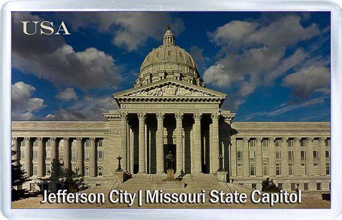 $3.29 - Acrylic Fridge Magnet: United States. Jefferson City. Missouri State Capitol Panoramic View