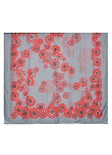 Grey Poppy Print Scarf by Ruby Rocks