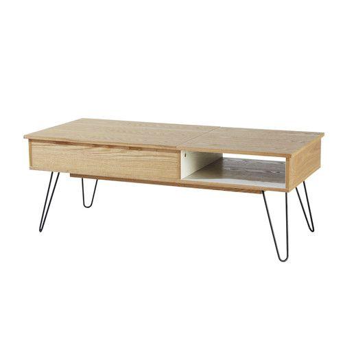 Tavolo basso vintage in legno e metallo L 115 cm