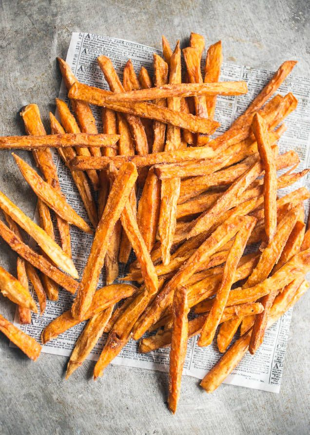 Krispiga friterade sötpotatis-frites - Mitt kök
