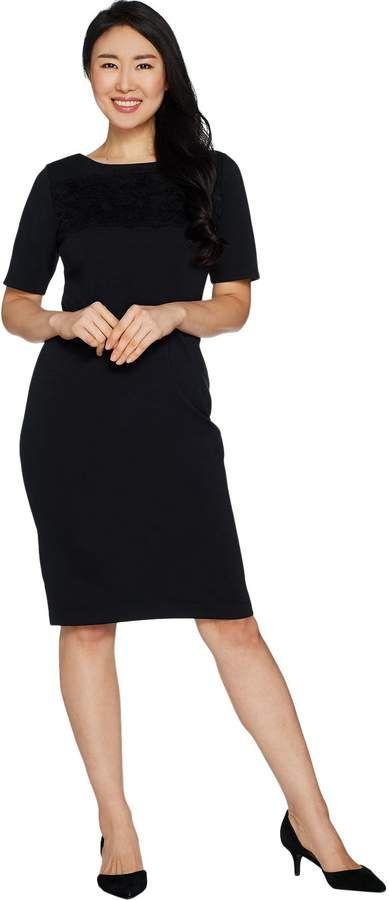 Joan Rivers Petite Length Classic Little Black Dress w/ Lace Detail 3
