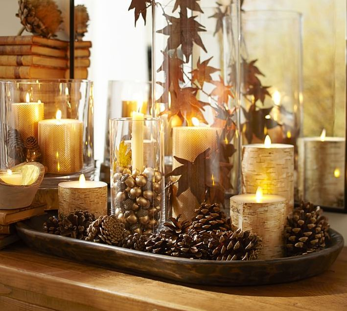 The soft color and intricate texture of natural birch gives these flameless candles their autumnal charm. Their flickering light mimics a real wick for an authentic glow.