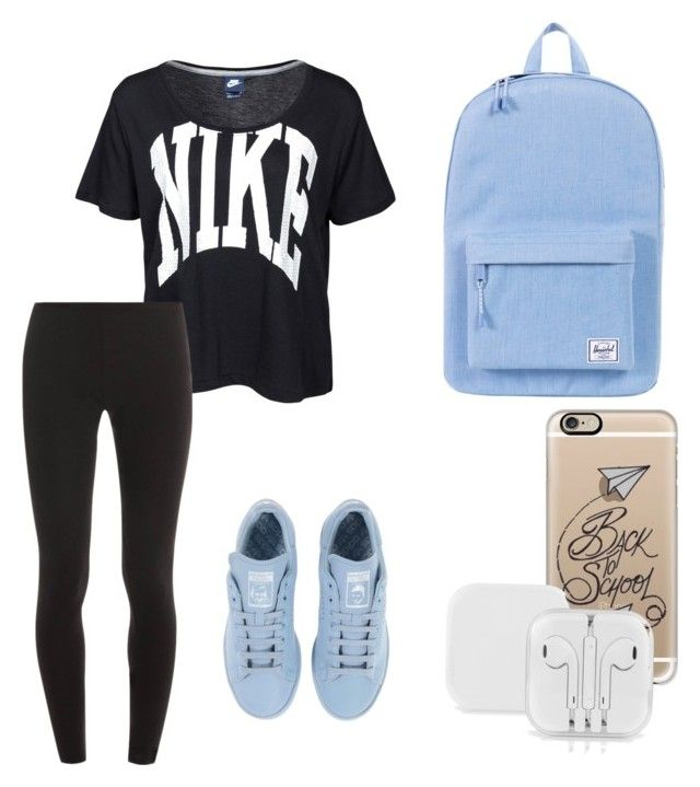 """""""School outfit#2"""" by sarah-e11 on Polyvore featuring NIKE, Splendid, adidas, Herschel Supply Co. and Casetify"""