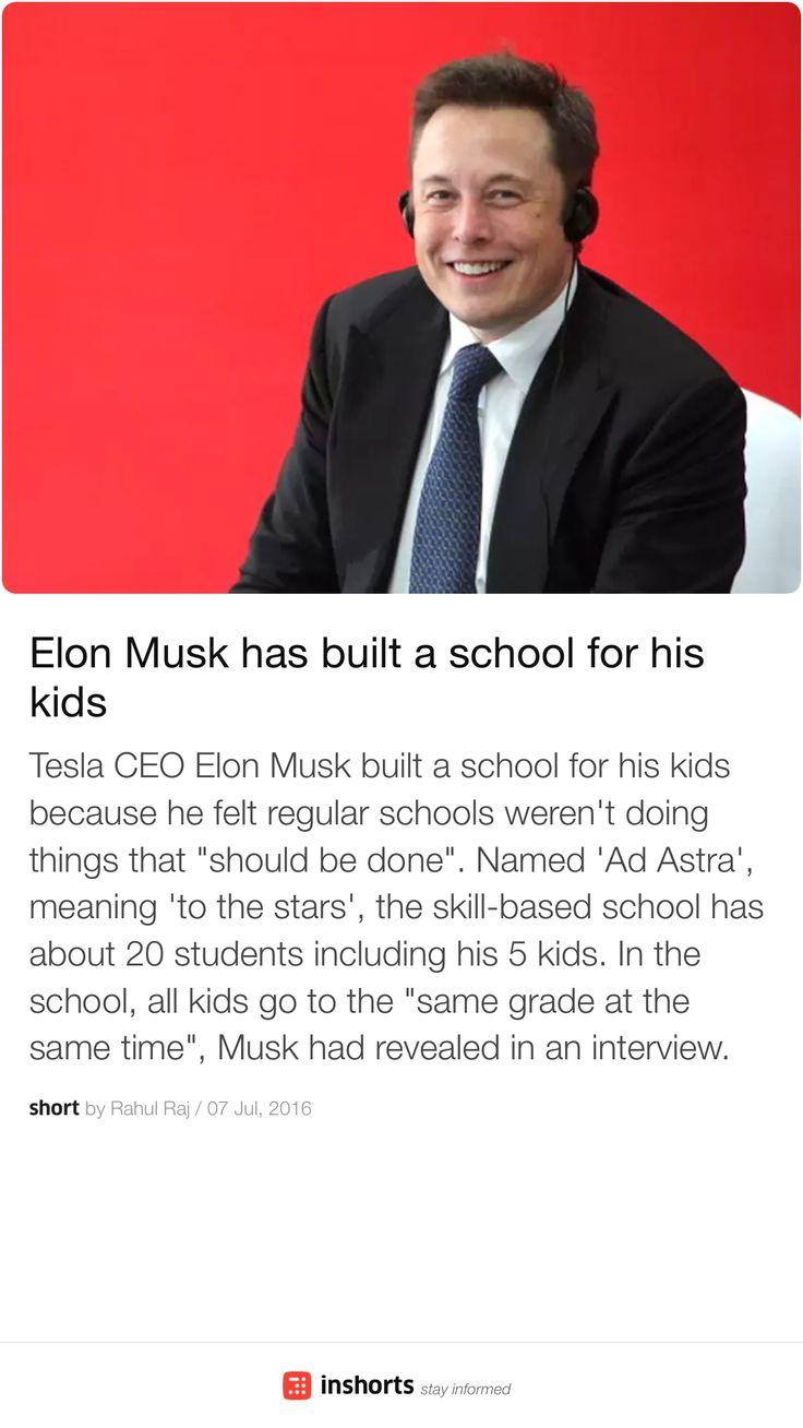 Elon Musk has built a school for his kids  http://shrts.in/ddN8J9bCip -via inshorts