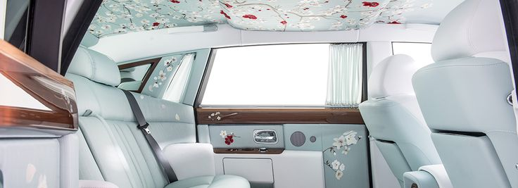 Serenity Phantom takes its inspiration from the idyllic and artistic gardens of Japan. Finished with a Bespoke Mother of Pearl paint, Serenity features a delicate hand painted asymmetric coachline complete with blossom .Capturing a moment in time and set beneath an exquisitely-crafted blossom tree the rear interior takes its inspiration from the opulent interiors of Rolls-Royces that have conveyed Kings and Queens,