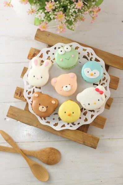 Macarons Ositos, Pollito, Conejito, Ranita, Pajarito y Hello Kitty.