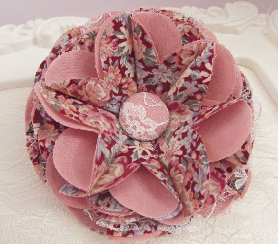 Vintage Coloured Flower with Lace, Print and Plain Fabrics with a Lace / Fabric Cover Button, Hair Accessory Home Decor Brooch Pin – VCF0066