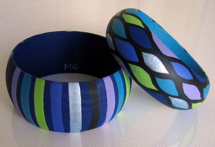 Pulseras RAYAS azul-ancha + ESCAMAS azul-estrecha
