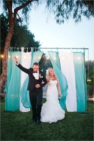Outdoor wedding?  no doors for Grand Entrance?  Set up sheer pipe and drape for you to walk out! These colors would also be great at the beach! I would love to do something like this! www.atlantaweddingdecor.com
