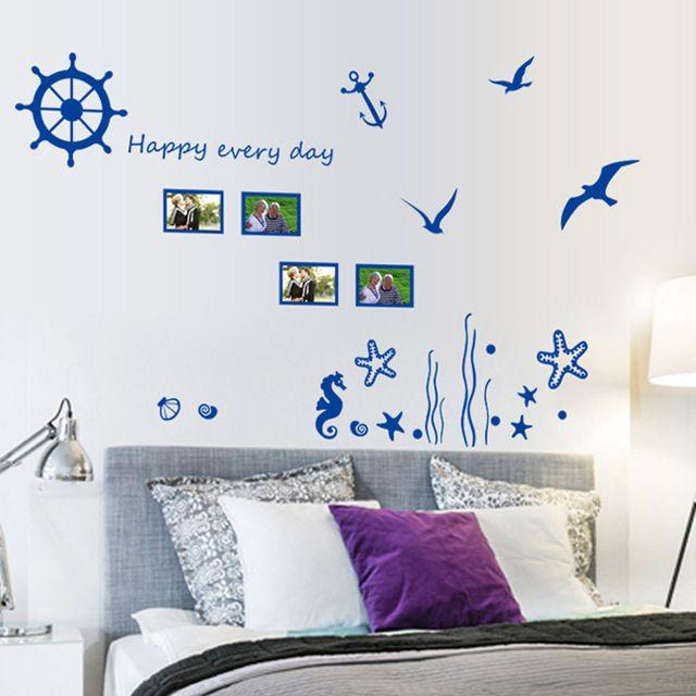 Съемный Наклейки На Стены Стикер стены Blue Sea World DIY Искусства Обои Наклейки Росписи для Украшения Комнаты 45*60 см