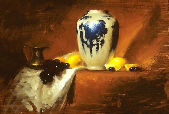 Leah Lopez :: Paintings :: Blue & White Vase with Lemons