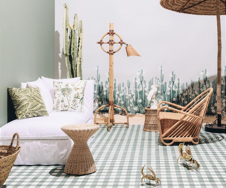 Wicker and palm prints evoke the laid-back vibe of a summer holiday.
