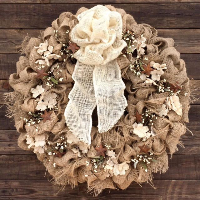 Rustic Burlap Wreath with Cream Burlap Hydrangeas by BurlapButtonsAndLace on Etsy