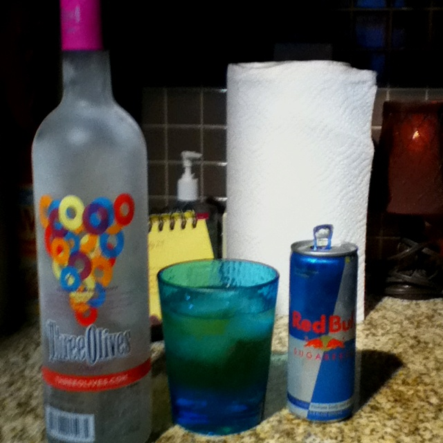 Gotta try. Just need three olives loopy flavored vodka and sugar free red bull....tastes just like fruit loops I swear
