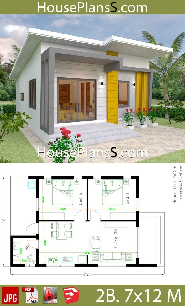 Small House Design Plans 7x12 With 2 Bedrooms Full Plans House