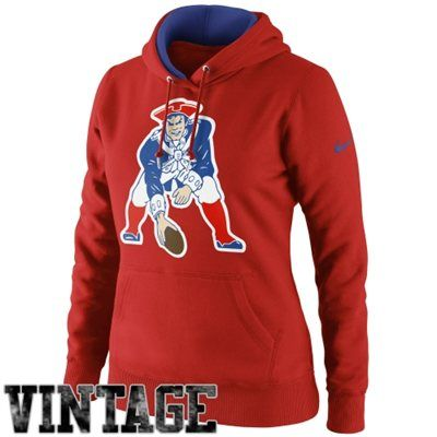 Nike New England Patriots Ladies Retro Tailgater Pullover Hoodie - Red