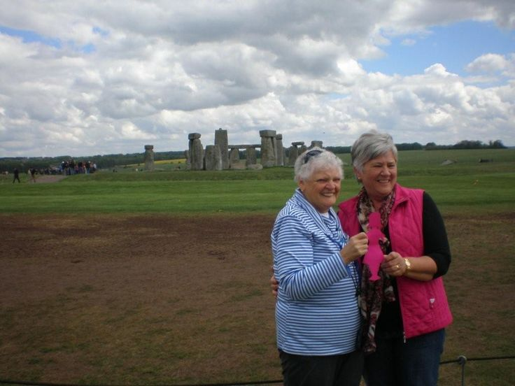 Our BCNA Community Liaison Lyn Hunter with the Pink Lady at Stonehenge!