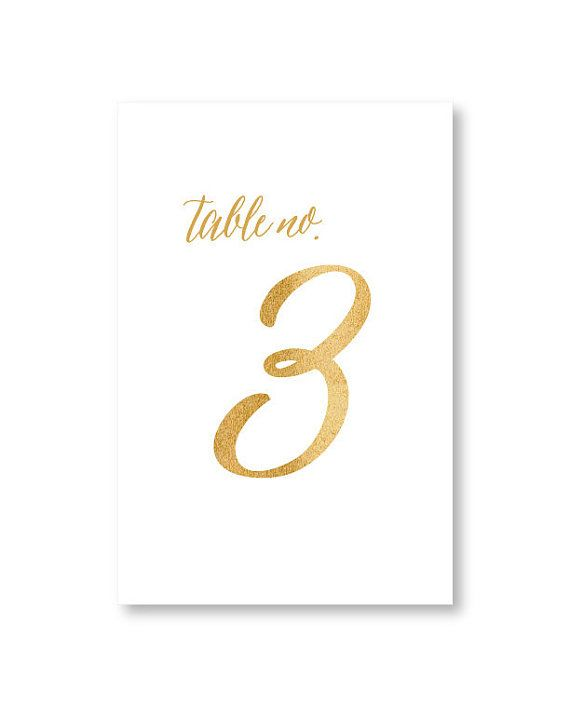 """Elegant Gold Script Table Numbers by Pretty Chic SF. Printed on cotton cards in 4x6"""" size, ideal for framing or card holders. #tablenumbers #goldwedding #calligraphy #tabledecor"""