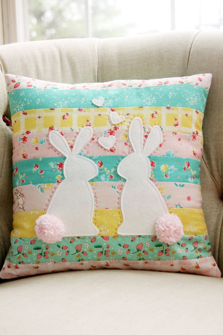 Celebrate Spring with this cute Spring Bunnies in Love pillow! This is the perfect combination for people who enjoy sewing and embroidery!