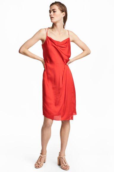Bluză drapată de satin - Roșu-aprins - FEMEI | H&M RO 1