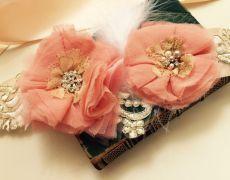 "Coral wedding belt,Flowers belt,Sash belt ""ROMANTIC PEACH"" by Art accessories made with love on https://www.breslo.ro/aura.angeline"
