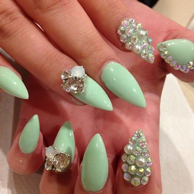 with an opal nail and jewels instead of the full jeweled nail - 85 Best Junk Nails Images On Pinterest Acrylics, Casket Nails
