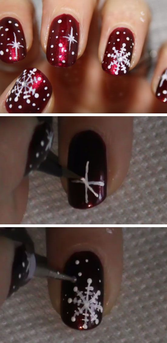 Red & White Snowflakes | Click Pic for 20 Easy Christmas Nails Art Designs…