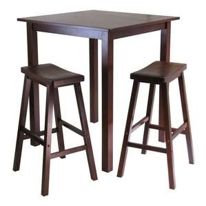 Winsome Wood Parkland 3-Pc Square High/Pub Table Set with 2 Saddle Seat Stools