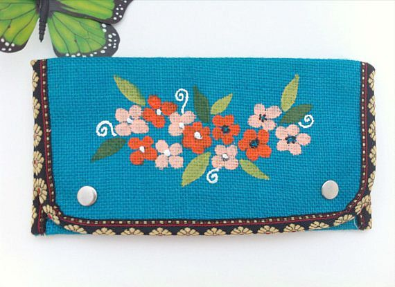 Hand Painted Purse Painted Purse Blue Burlap by Peonypeacockstudio