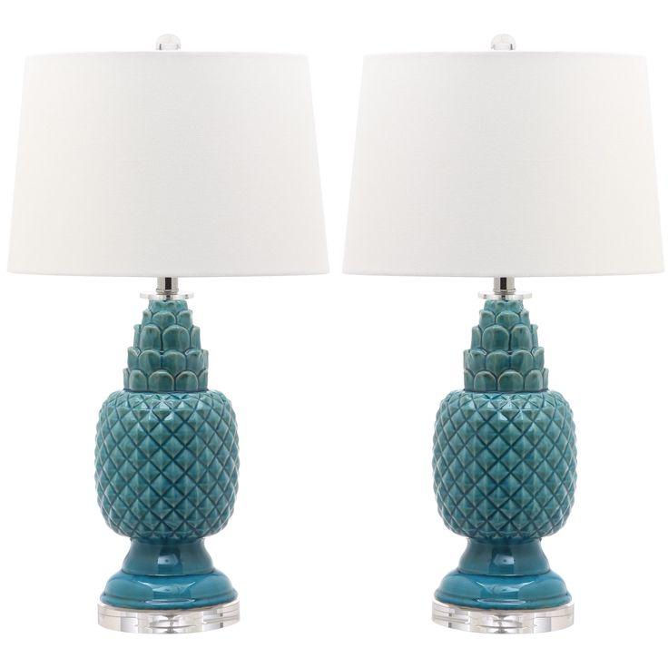 Teal Table Lamps: Safavieh Lighting 27.5-inch Blakely Teal Table Lamp,Lighting