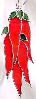 Chili Peppers Stained Glass Suncatcher