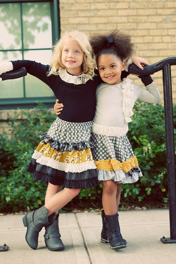 I love both of these little girl outfits - skirts and shirts.  So cute!