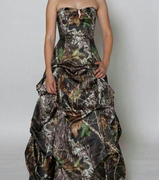 Camouflage wedding dress maybe with orange sash around for Orange and camo wedding dress