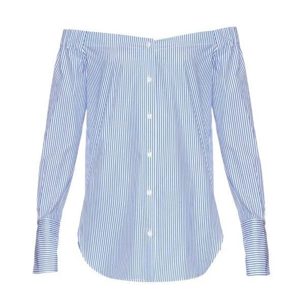 Rag & Bone Kacy off-the-shoulder pinstriped top (1.220 BRL) ❤ liked on Polyvore featuring tops, blue white, cut loose shirt, off shoulder shirt, loose shirts, off the shoulder shirts and off the shoulder tops