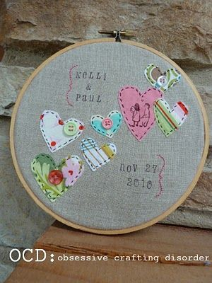Embroidery Hoop {Hand Stitched and Stamped}